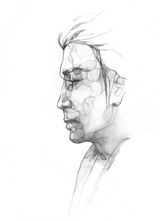 bocetos de personas: la fantas�a del hombre dibujo Foto de archivo