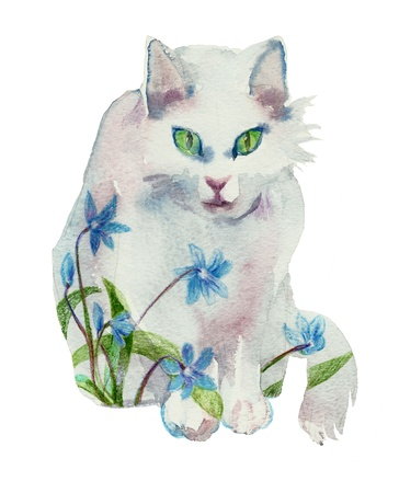 white watercolor spring cat concept Stock Photo - 13150239