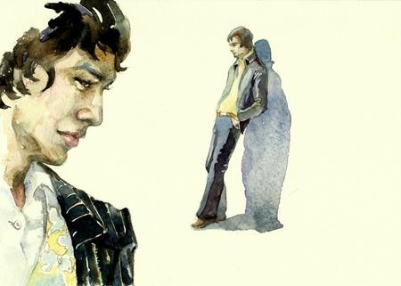 pandilleros: hombre en el traje elegante de acuarela