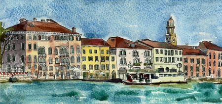 Venice embankment watercolor photo