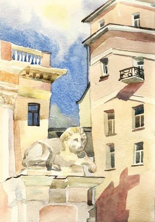 Moscow lion guardian watercolor Stock Photo