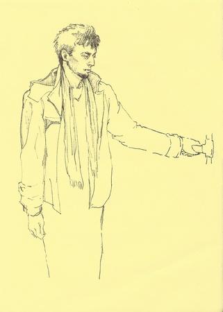 man inside metro wagon sketch