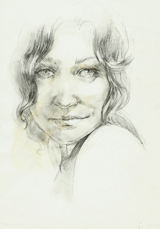 portret of a beutifull curly woman pencil drawing photo