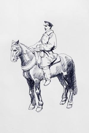 uomo a cavallo: retro cavaliere grafica