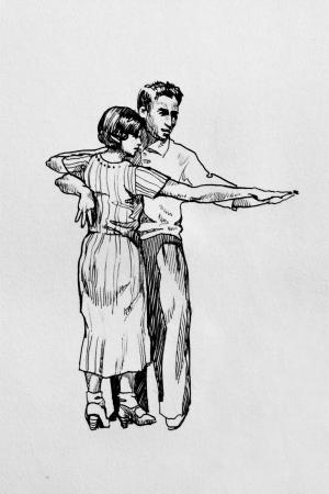 retro dancers graphic pen on paper photo