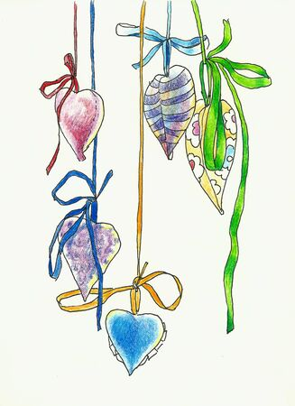 hanging hearts shape decoration drawing