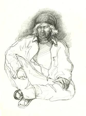 gang member: hip hop gangster drawing Stock Photo