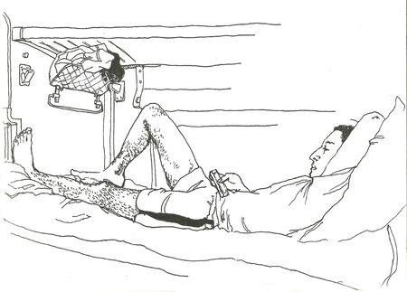 sleeping car: man travelling in a sleeping-car and playing mobile graphic
