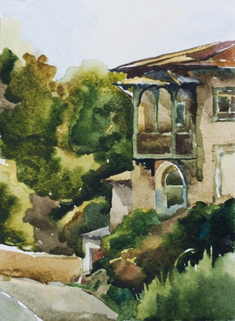 balcony view: Old house in Yalta watercolor