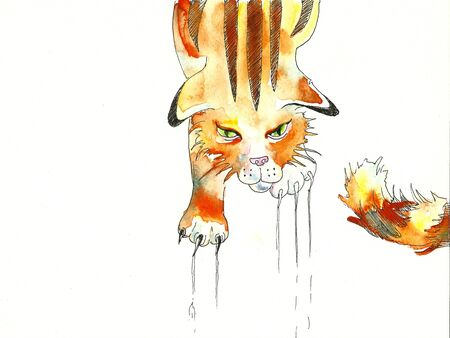 scratching: angry red tabby cat scratching the surface watercolor