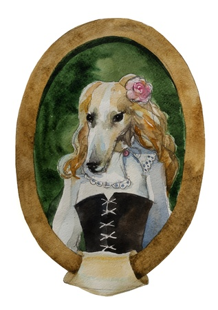 geyhound dog portret watercolor royal dog seria photo