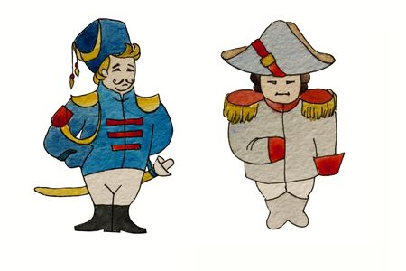 napoleon: Watercolor characters dragoon and french general Stock Photo
