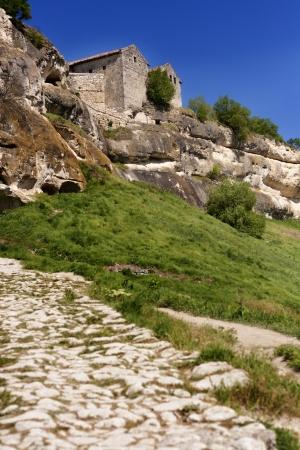 caving: Caving ancient city Chufut Kale in Bakhchisaray, Ukraine