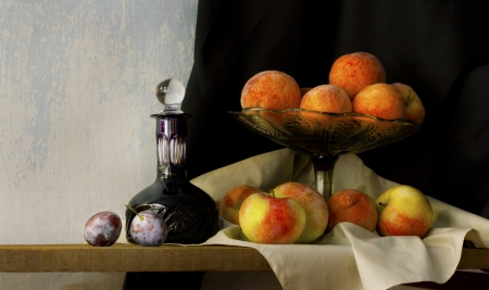 still life with glass, apples, peaches amd plums in holland classic style
