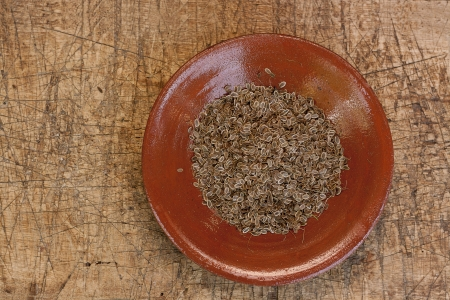 dill seeds on ceramic rustic plate photo