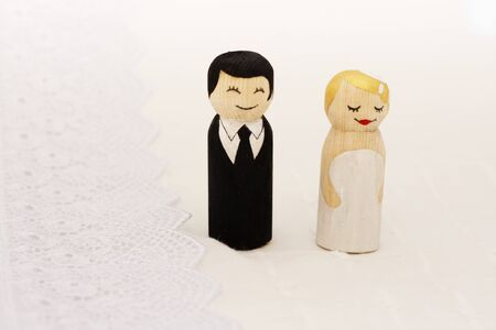 Bride and groome cake topper wooden doodle figures photo