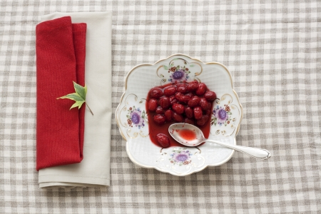 Homemade cornel preserve on a china plate with a silver dessert spoon on chequered tablecloth Stock Photo - 14990612