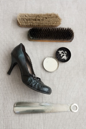 shoe polish retro set with woman shoe photo