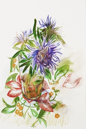 three lilac asters in a glass on tablecloth with flower ornament pencil drawing photo
