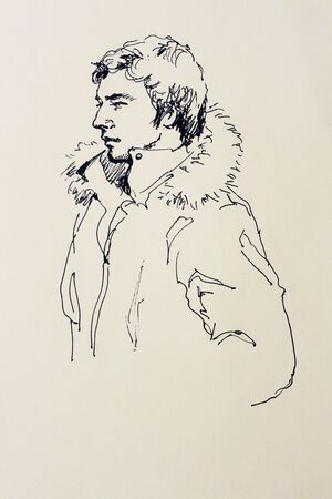 fur hood: Line art potrait of a standing man sketch drawing