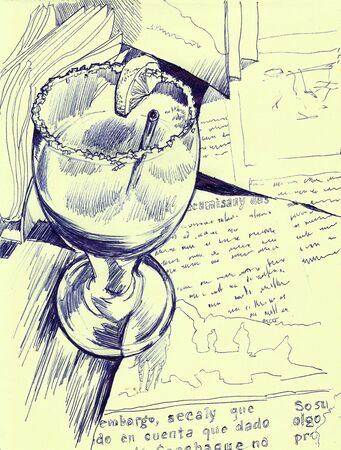 margarita glass: strawberry margarita glass on a table pen drawing Stock Photo
