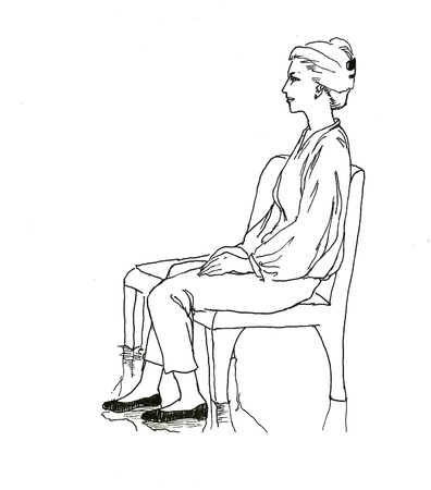 sitting on the bench woman line art drawing Stock Photo - 17289080
