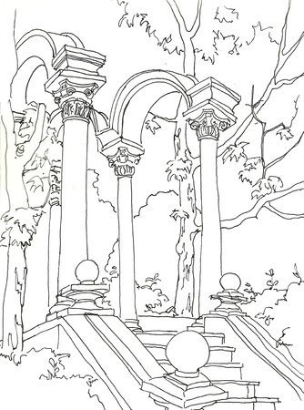 staicase with arcade in Primorsky park in Yalta pen drawing