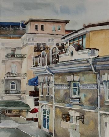 Watercolor cityscape in central part Yalta, Crimea photo