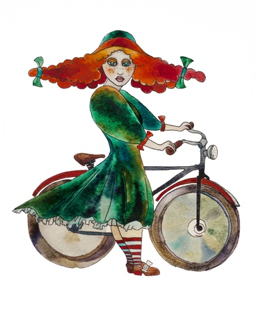 retro styled girl with a bicycle watercolor painting