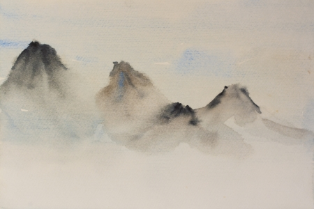 landscape painting: watercolor background in classic chinese style mountains in a fog Stock Photo