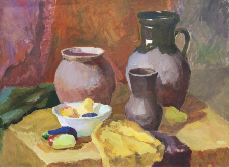 studing: Still life with clay pottery and vegetables gouache painting