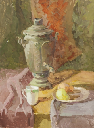 Still life with samovar, pear and mug green and orange tones gouache painting Stock Photo