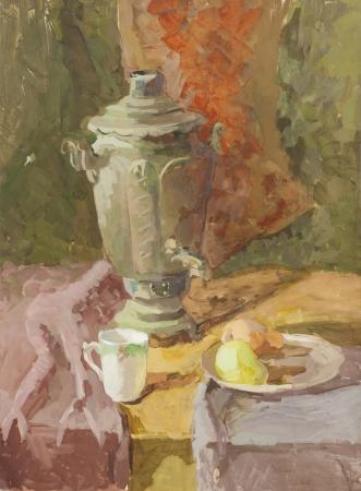 gouache: Still life with samovar, pear and mug green and orange tones gouache painting Stock Photo