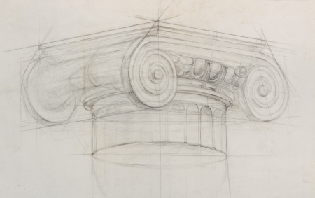 flute structure: pencil sketch of ionic capital column