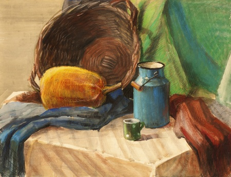 life style: Still life with wicker basket and pumpkin mixed watercolor and pastel