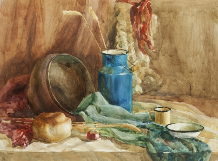 reflection of life: Still life with brad and milk can watercolor painting