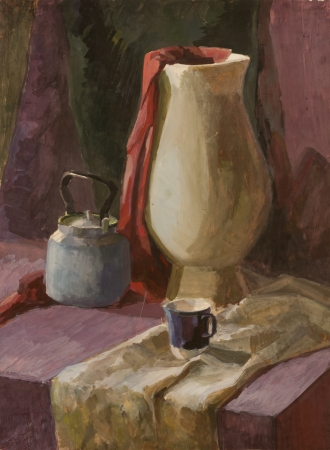Still life with white vase and teapot gouache painting