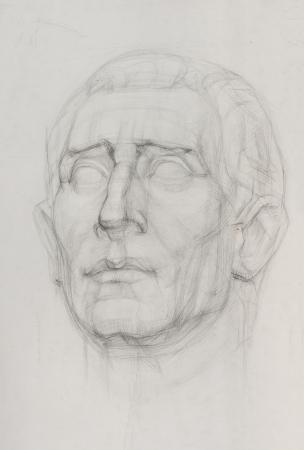sketch drawing of gypsum sculpture head  Foto de archivo