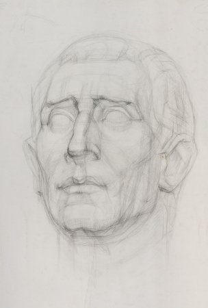 sketch drawing of gypsum sculpture head  免版税图像