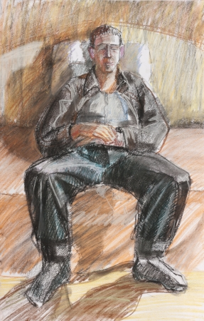 pastel drawing of sitting relax young man abstract contemporary art