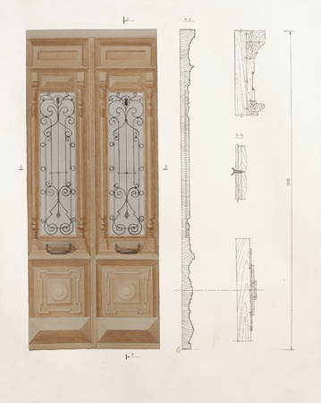 Architectural drawing of antique wooden door with a details and sections photo