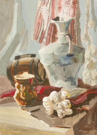 barrell: Still life with garlic, small barrel and beer mug gouache painting Stock Photo