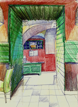 pensil: Red and green cafe interior pensil drawing Stock Photo