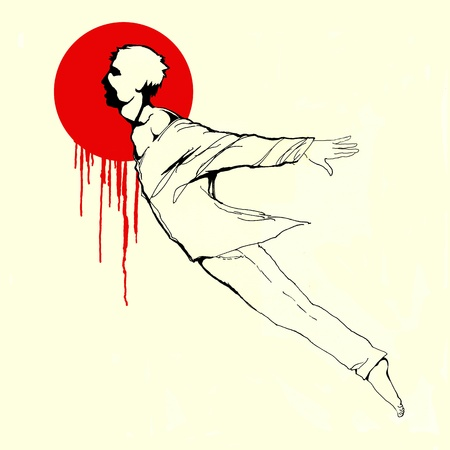 Falling down despairing man ink illustration Stock Illustration - 18714769