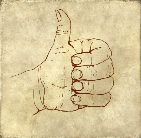Like shape fist old fashioned ink drawing on textured background photo