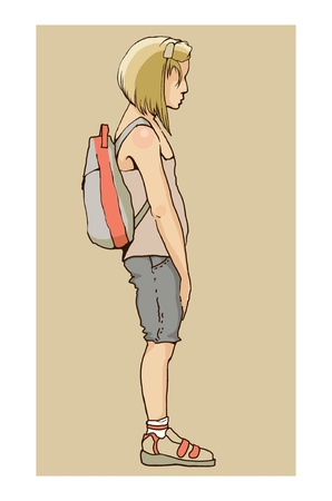 teenagers only: small sad girl with backpack illustration drawing Stock Photo
