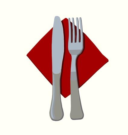Fork and knife flatware on red napkin simple illustration