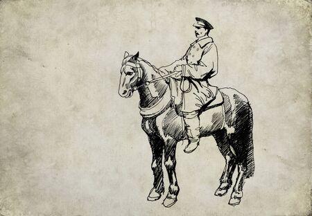 horseman: Retro cavaliere disegno ad inchiostro su sfondo grunge