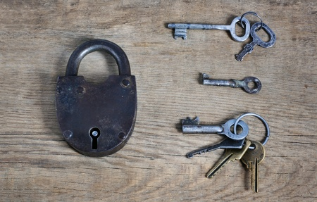 old fashioned rusty lock with keys on wooden surface photo