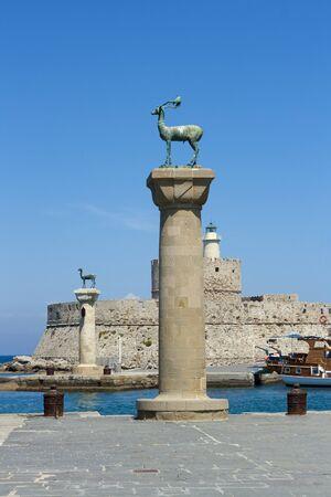 rhodes: Rhodes island symbol column coloss in Mandraki bay, Greece Stock Photo